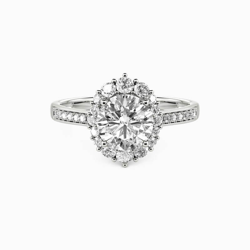 """SHE·SAID·YES """"For You My Love"""" Round Cut Engagement Ring"""