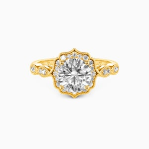 10K Gold Flower Queen Engagement Halo Rings