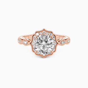 10K Rose Gold Flower Queen Engagement Halo Rings