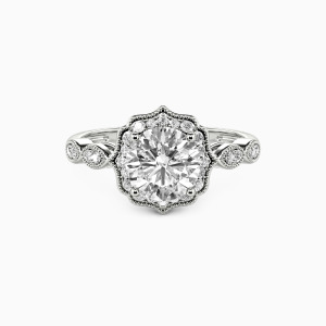 10K White Gold Flower Queen Engagement Halo Rings