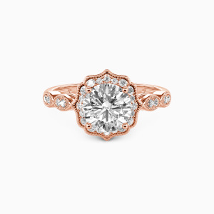 14K Rose Gold Flower Queen Engagement Halo Rings