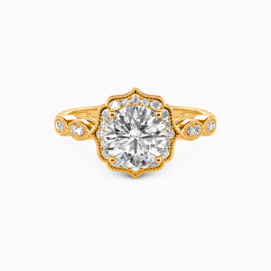 18K Gold Flower Queen Engagement Halo Rings