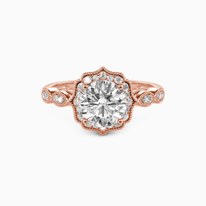 18K Rose Gold Flower Queen Engagement Halo Rings