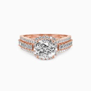 14K Rose Gold Be with You Engagement Halo Rings