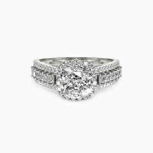 14K White Gold Be with You Engagement Halo Rings