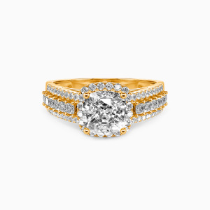 18K Gold Be with You Engagement Halo Rings