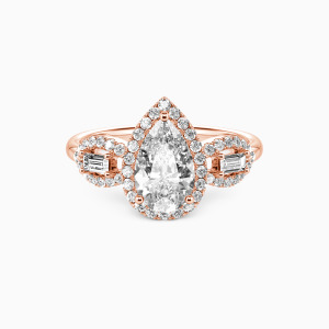 10K Rose Gold Never Separate Engagement Halo Rings