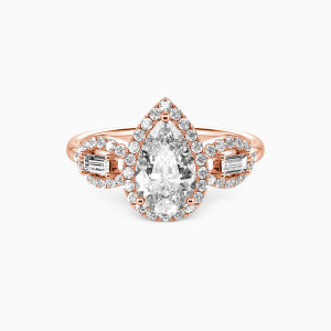 14K Rose Gold Never Separate Engagement Halo Rings