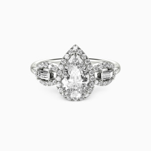 14K White Gold Never Separate Engagement Halo Rings