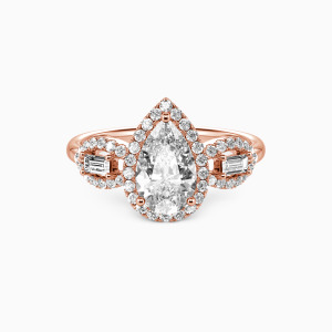 18K Rose Gold Never Separate Engagement Halo Rings