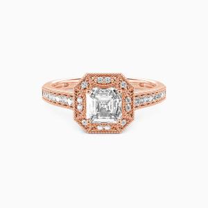 10K Rose Gold Romance Forever Engagement Halo Rings