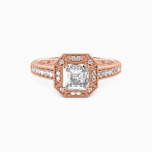 14K Rose Gold Romance Forever Engagement Halo Rings