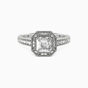 14K White Gold Romance Forever Engagement Halo Rings