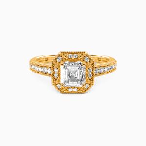 18K Gold Romance Forever Engagement Halo Rings