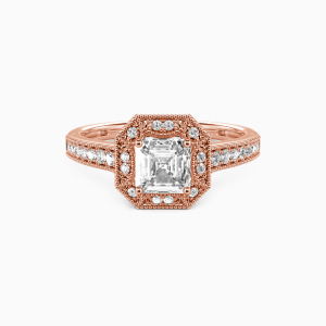 18K Rose Gold Romance Forever Engagement Halo Rings