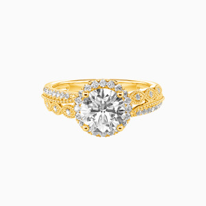 10K Gold Always Together Engagement Halo Rings
