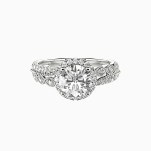 14K White Gold Always Together Engagement Halo Rings