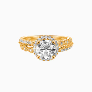 18K Gold Always Together Engagement Halo Rings