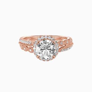 18K Rose Gold Always Together Engagement Halo Rings