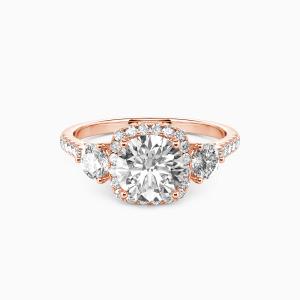 10K Rose Gold New Beginning Engagement Halo Rings