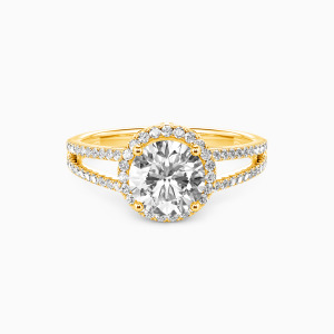 10K Gold My Queen Forever Engagement Halo Rings