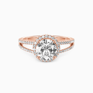 14K Rose Gold My Queen Forever Engagement Halo Rings