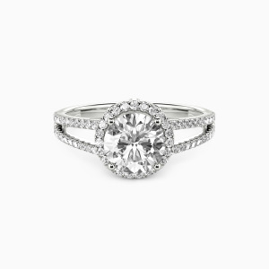 14K White Gold My Queen Forever  Engagement Halo Rings