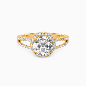 18K Gold My Queen Forever Engagement Halo Rings