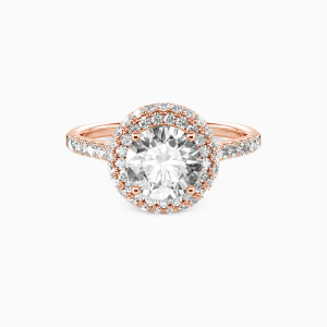 10K Rose Gold You Are the One Engagement Halo Rings