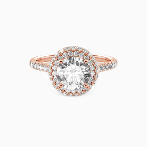 14K Rose Gold You Are the One Engagement Halo Rings