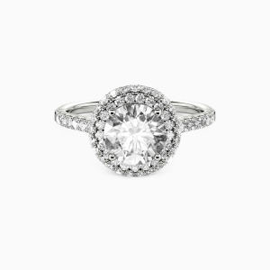 14K White Gold You Are the One Engagement Halo Rings