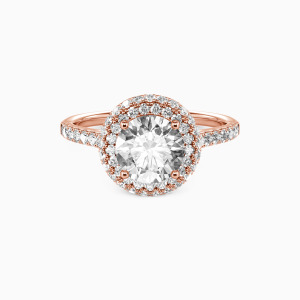 18K Rose Gold You Are the One Engagement Halo Rings