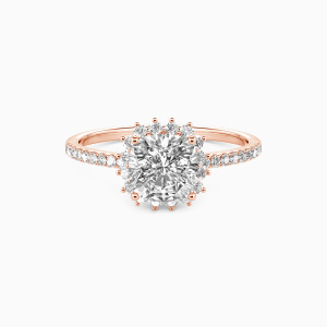 10K Rose Gold We Are The Stars Engagement Halo Rings
