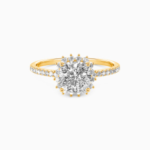 14K Gold We Are The Stars Engagement Halo Rings