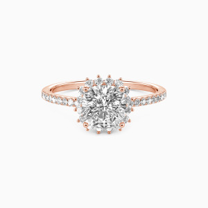 14K Rose Gold We Are The Stars Engagement Halo Rings