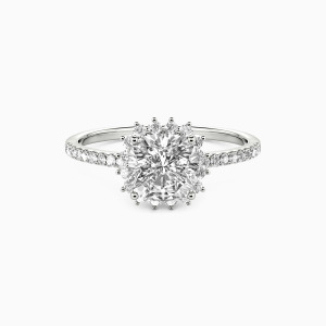 14K White Gold We Are The Stars Engagement Halo Rings