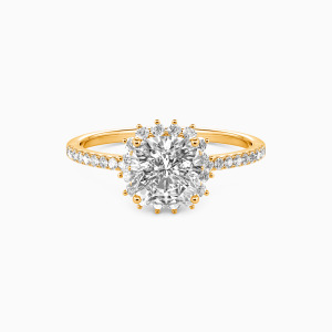 18K Gold We Are The Stars Engagement Halo Rings