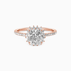 18K Rose Gold We Are The Stars Engagement Halo Rings