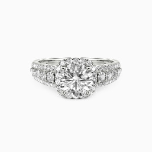 10K White Gold Affectionate Password Engagement Halo Rings