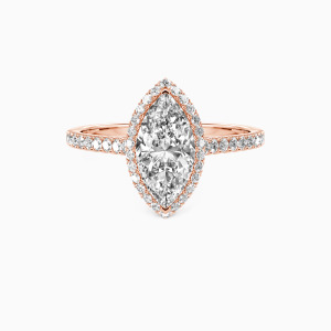 10K Rose Gold My True Love Engagement Halo Rings