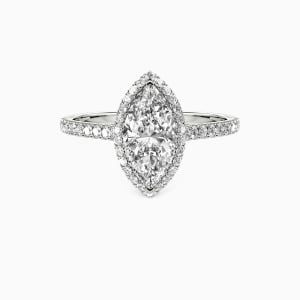 10K White Gold My True Love Engagement Halo Rings