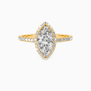 14K Gold My True Love Engagement Halo Rings