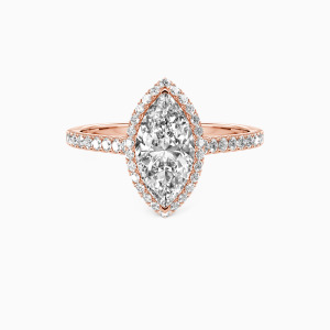 14K Rose Gold My True Love Engagement Halo Rings