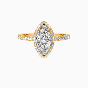 18K Gold My True Love Engagement Halo Rings