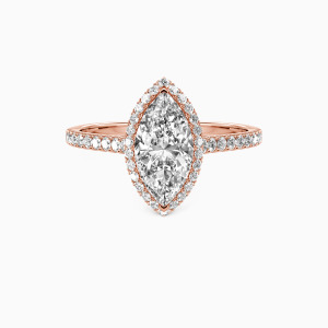 18K Rose Gold My True Love Engagement Halo Rings