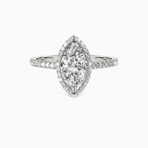 18K White Gold My True Love Engagement Halo Rings