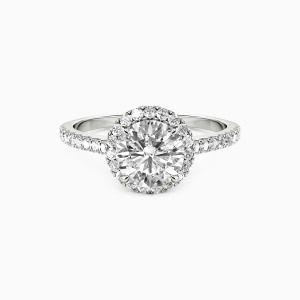 10K White Gold Fall Into Love Engagement Halo Rings
