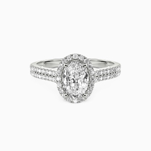 10K White Gold You Are My Special Person Engagement Halo Rings