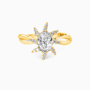 10K Gold My Little Sun Engagement Halo Rings