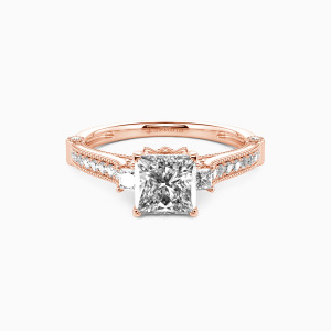 10K Rose Gold Eyes For You Engagement Side Stone Rings